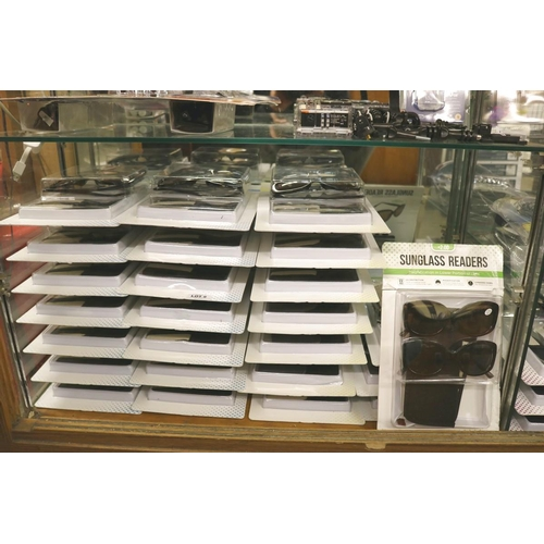 9 - VERY LARGE QTY SUNGLASS READERS - APPROX 25 PACKS OF 2 - VAR. STRENGTHS...