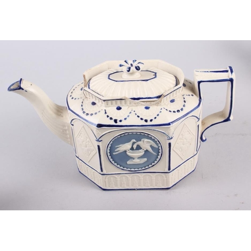 2 - Three 19th century blue and white Castleford teapots (damages)...