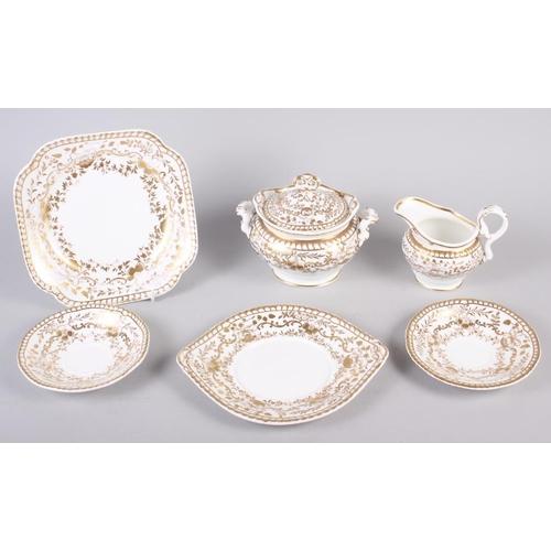 24 - A Spode feldspar bone china and gilt decorated part tea service...