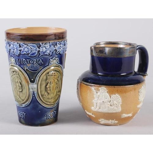 29 - A Doulton Stoneware 1897 Jubilee beaker, 5