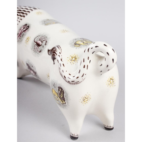 38 - Arnold Machin: a Wedgwood Barlaston model of a bull, decorated with signs of the Zodiac, 6