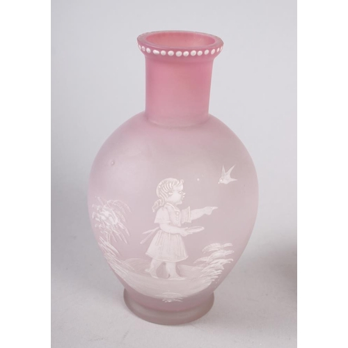 52 - A Mary Gregory frosted glass and enamelled vase, 5 1/2
