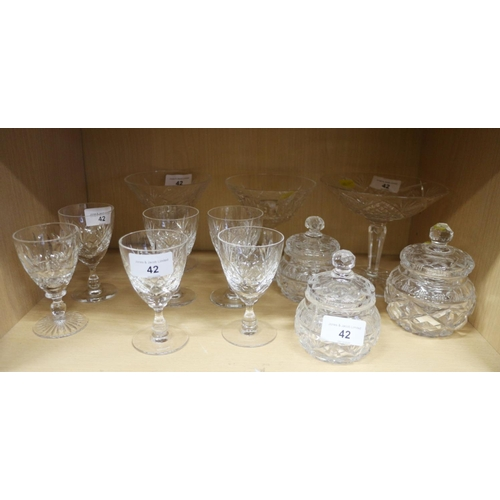 42 - Three Waterford crystal sweetmeat stands, six port glasses and three moulded glass trinket jars...