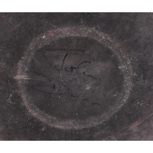 14 - A John Dunn Raku pearlescent shallow bowl, 17 1/2