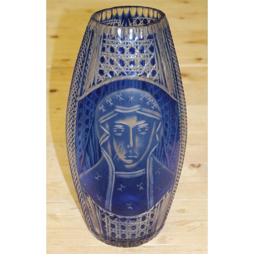 29 - A 1950s blue overlaid cut and engraved glass vase with orthodox Madonna figure, 14 1/2
