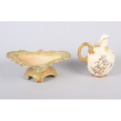 7 - A pair of Spode relief and floral decorated spill vases, 4 1/4