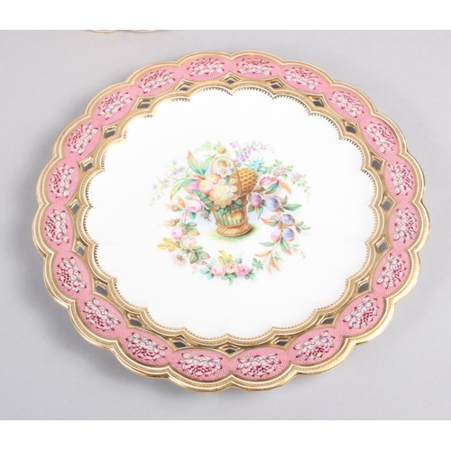 16 - Six 19th century bone china plates, decorated with baskets of flowers and fruit with pink and gilt b...
