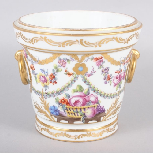 18 - An 18th century Sevres Imperial cache pot with gilt ring handles and floral swag decoration 5 1/4