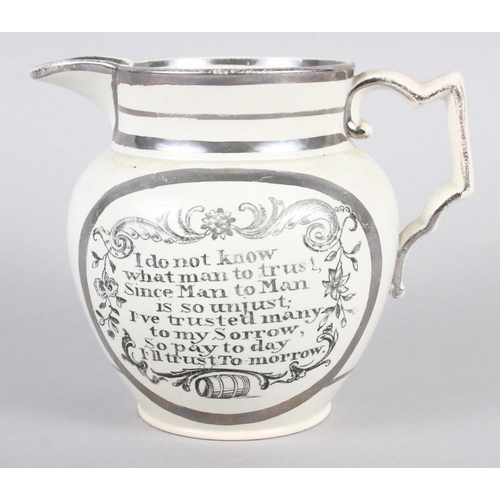 19 - A 19th silver and white glazed pearlware jug with verse decoration, 4 1/2