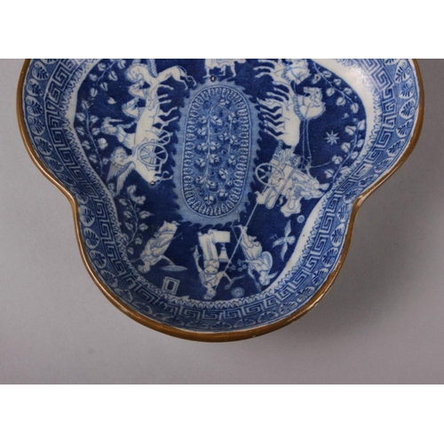 26 - An 18th century Worcester blue and white leaf-shaped pickle dish, 5 1/4