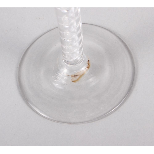 33 - An air twist stem moulded glass ogee wine, 6