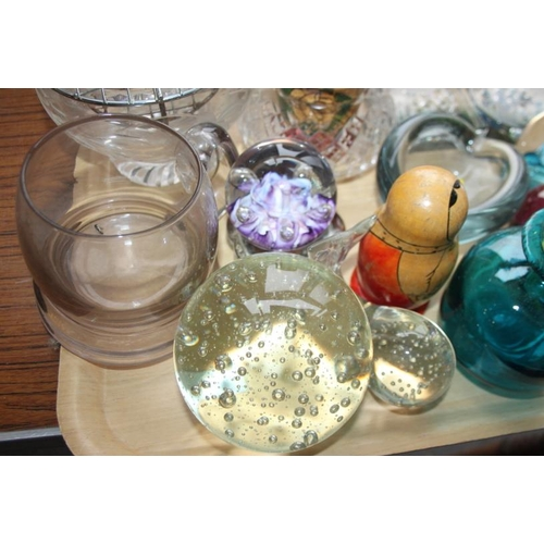 52 - A Mdina glass scent bottle, four glass paperweights, other glass, various, and two Russian nesting d...