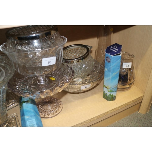 50 - A cut glass globular vase, a pair of tapering vases and other glassware, various...