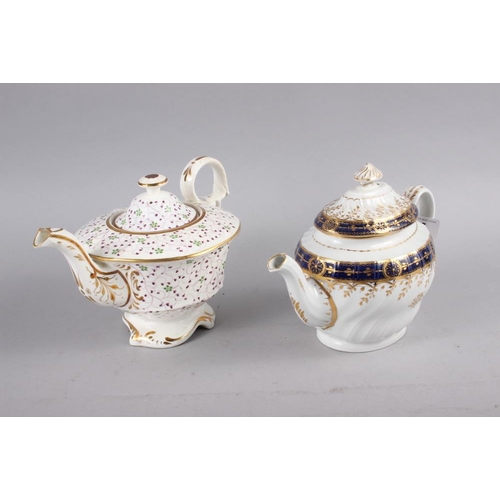 5 - Seven teapots comprising an early 19th century teapot with blue and gilt decoration, 6 1/2