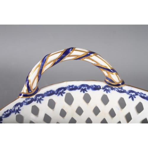 3 - A Worcester porcelain chestnut basket with swag decorated border and crescent mark to base, 13