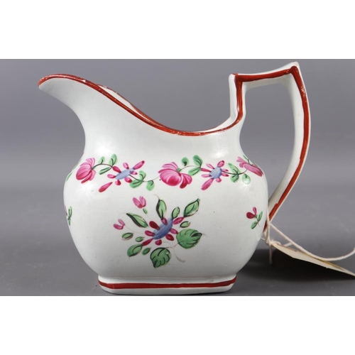 53 - An early 19th century Liverpool? cream jug with floral decoration, 4