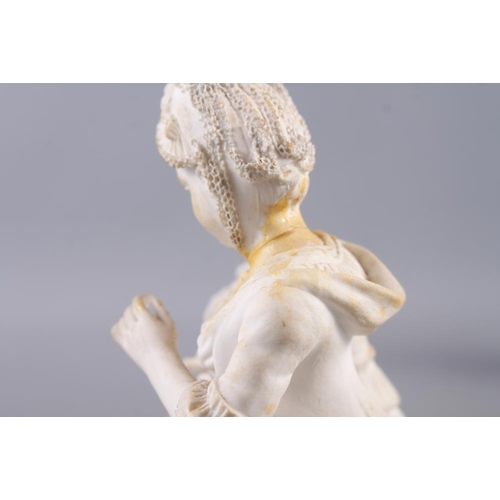 8 - An 18th century Derby bisque figure of a woman with a bird in a cage, 6