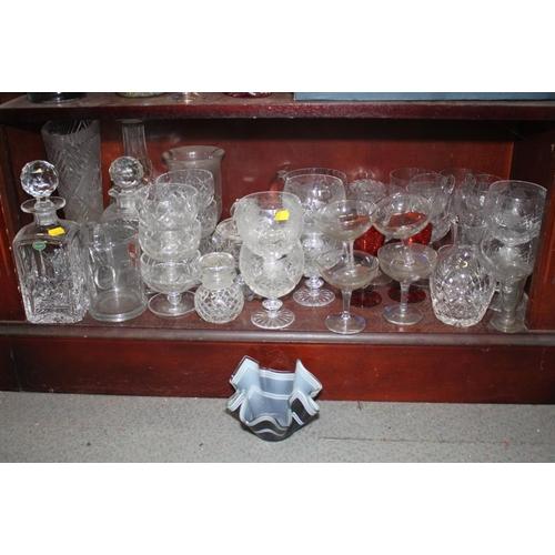 46 - A Stuart Crystal whisky decanter, a celery vase, 8