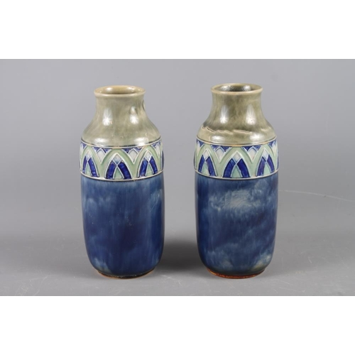 1 - A pair of Royal Doulton baluster vases, 10