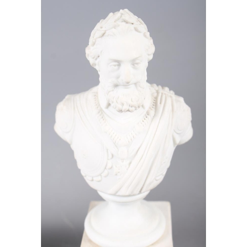13 - A 19th century bisque bust of Louis XIV, on square base, 7