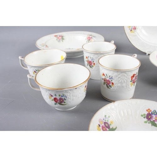 28 - A 19th century Pinxton? part combination service with floral decoration