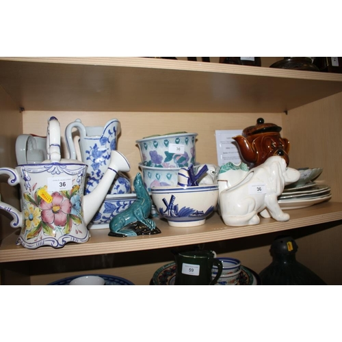 36 - A cut glass globular vase, a pair of tapering vases, a blue and white toilet jug and basin, a pair o...