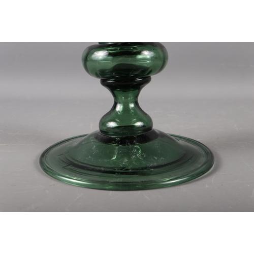 15 - A green glass goblet, 13 1/2
