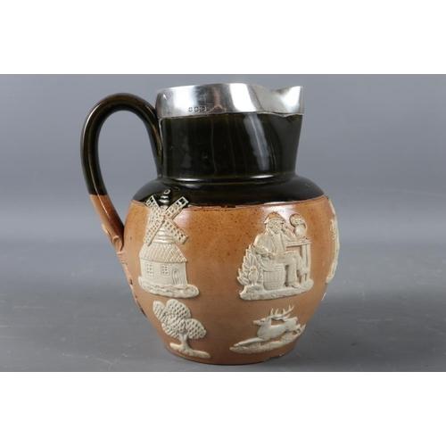 6 - A Royal Doulton silver mounted hunting jug, 6 1/4