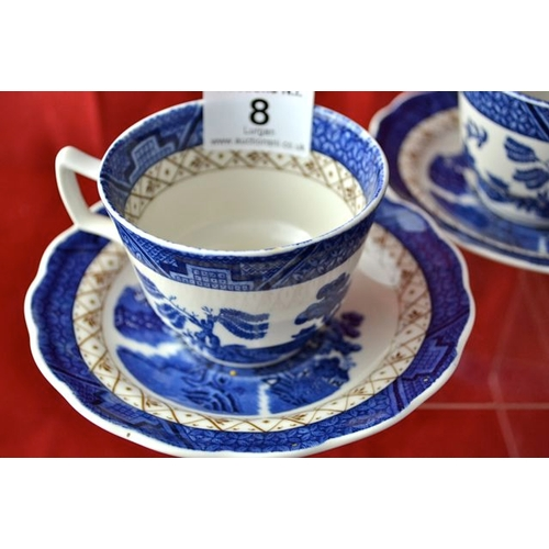 8 - Royal Doulton Booths Real Old Willow Teacup & Saucer x 2...