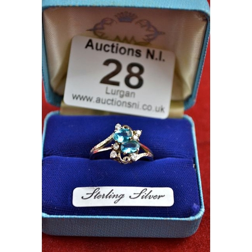 28 - Blue Stone 925 Ring...
