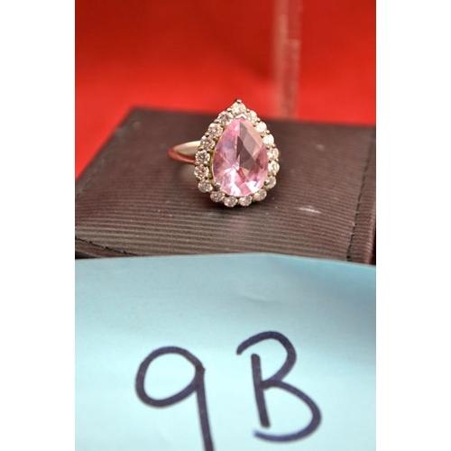 9B - Pink Teardrop Ring...