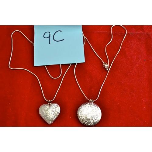 9C - Heart + Circular Locket Chain...