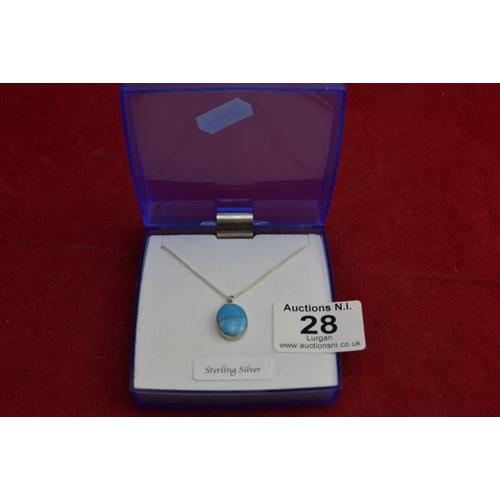 28 - Turquoise Pendant Necklace...