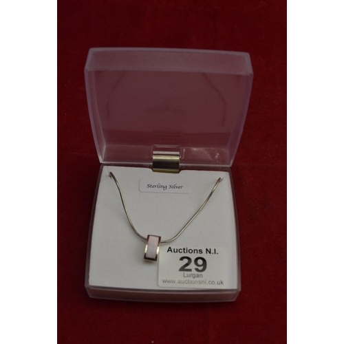 29 - Silver Pink Stone Necklace...