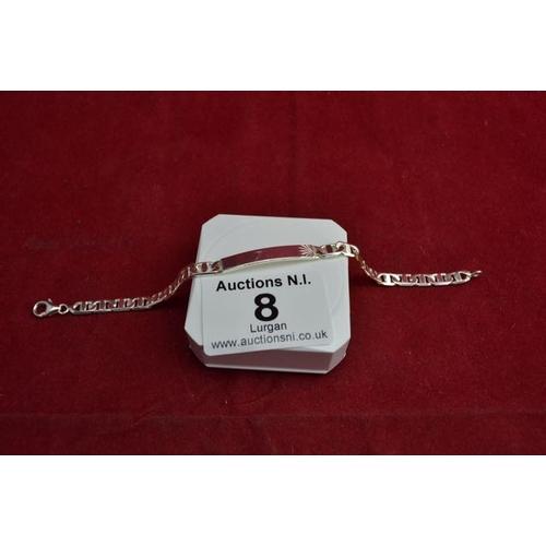 8 - Silver 925 ID Tag Bracelet...