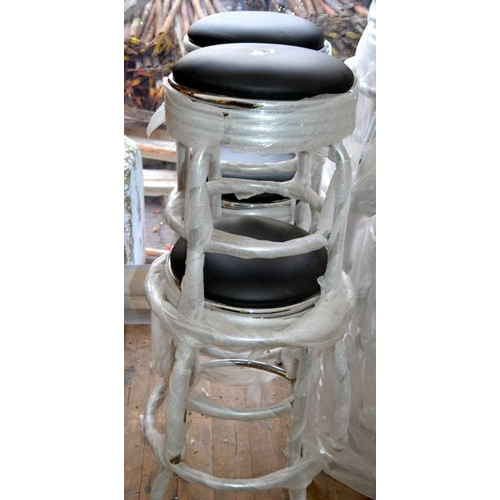1 - Black Leather & Chrome High Bar Stool x 4...