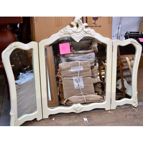 20 - Cream Triple Vanity Mirror...