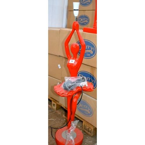 36 - Red Ballerina Floor Lamp - 110cm with Slight Damage...