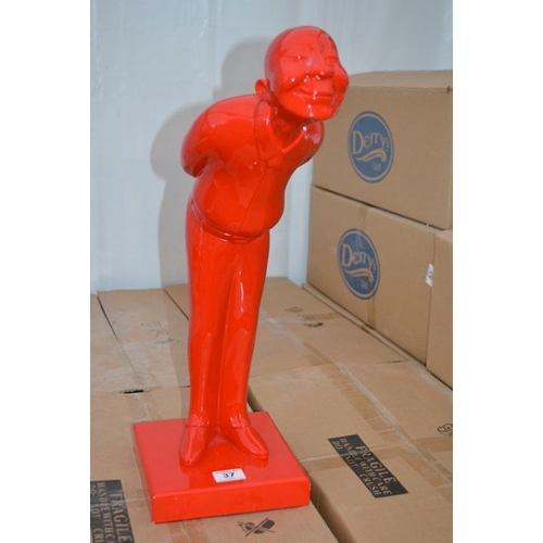 39 - Red Chinese Man Table Statue...
