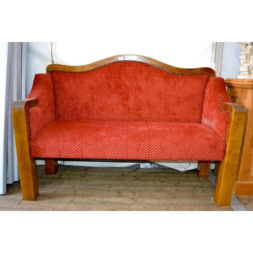 5 - Red Upholstered & Oak Framed Bench Seat...