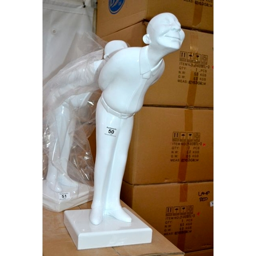 50 - White Chinese Man Table Statue...