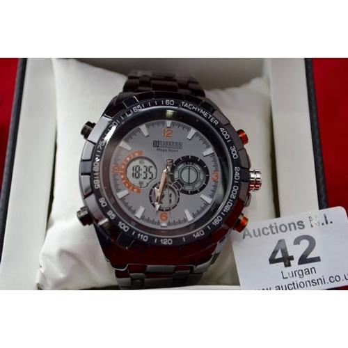 42 - Barkers of Kensington Mega Sport Grey Watch - New...
