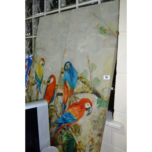 50 - Pair of Macaw Canvases...