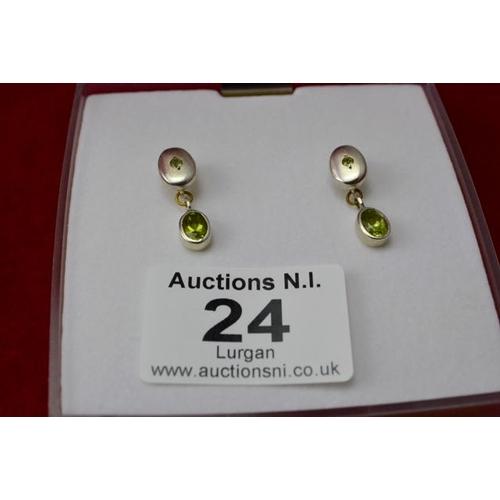 24 - Silver Green Stone Earrings...