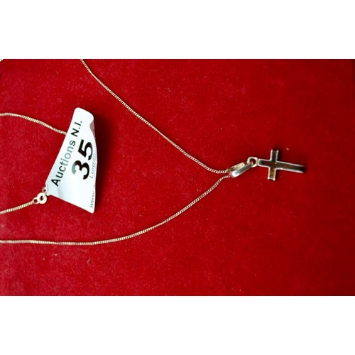 35 - Silver Chain with Cross Pendant...