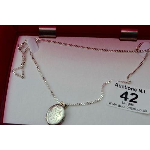 42 - Silver Locket on Chain...