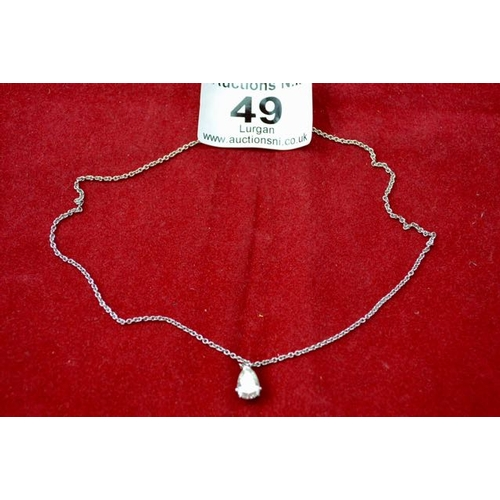 49 - Silver Chain with CZ Teardrop Pendant...