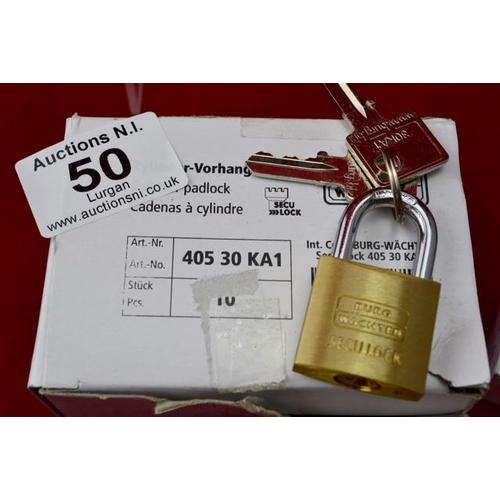 50 - Box of 10 Cylinder Padlock & Key...