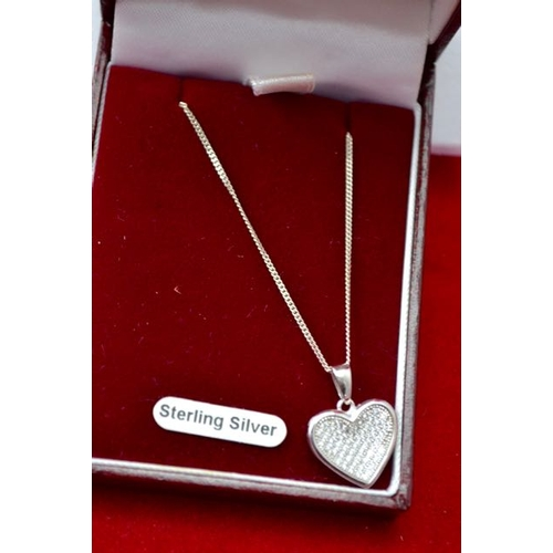 59 - Silver Heart Pendant Necklace...