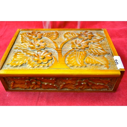 30 - Carved Wooden Box of Curiosities...